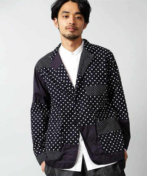 Engineered Garments Loiter Jacket Big Polka Dot Broadcloth EF199: Dark Navy