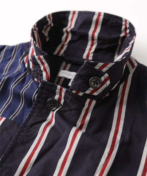 Engineered Garments Loiter Jacket Regimental St. EF200: Navy / Red / White