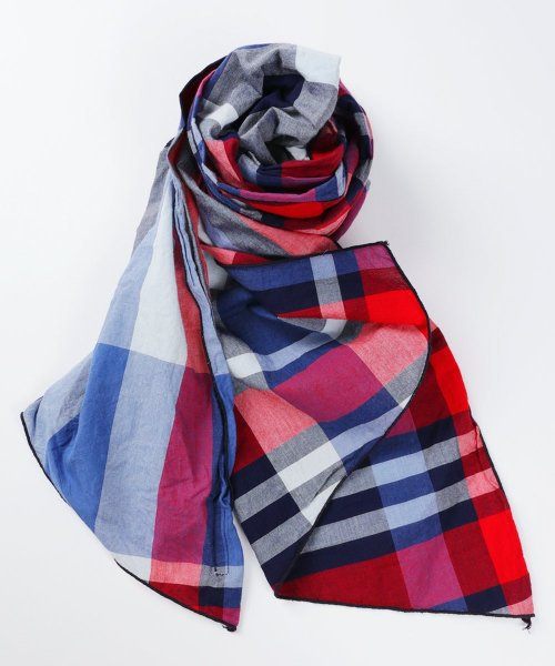 Engineered Garments Long Scarf - Big Madras Plaid EF047: Navy